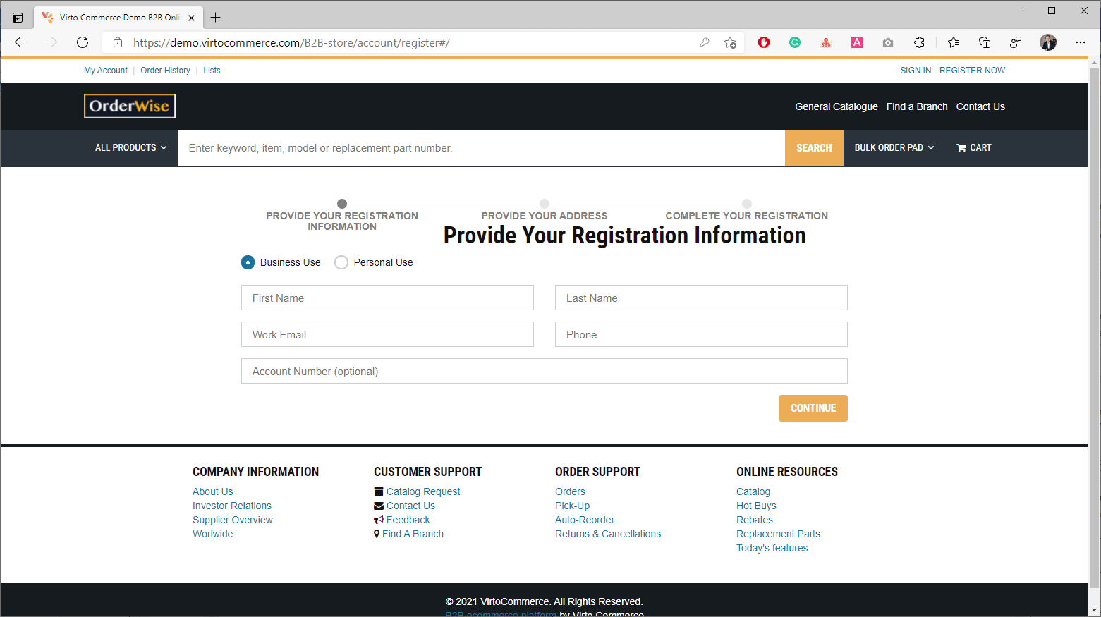 Virto Commerce demo portal with an example of a client's registration