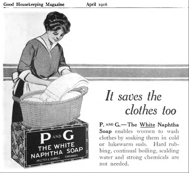 P and G White Naphtha Soap magazine advertisement, 1916.