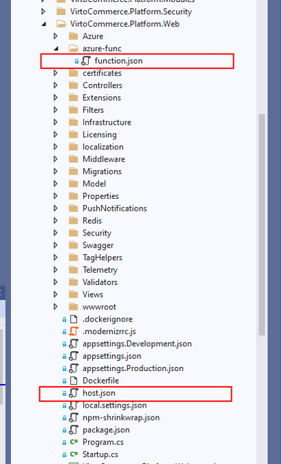 Screen of the file structure of the platform with json files