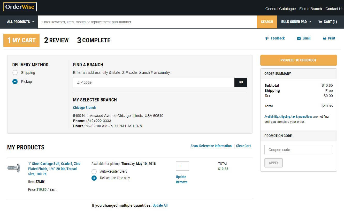 New cart view and one-page checkout now feature pickup delivery method and display expected arrival date or product availability in selected fulfillment centers