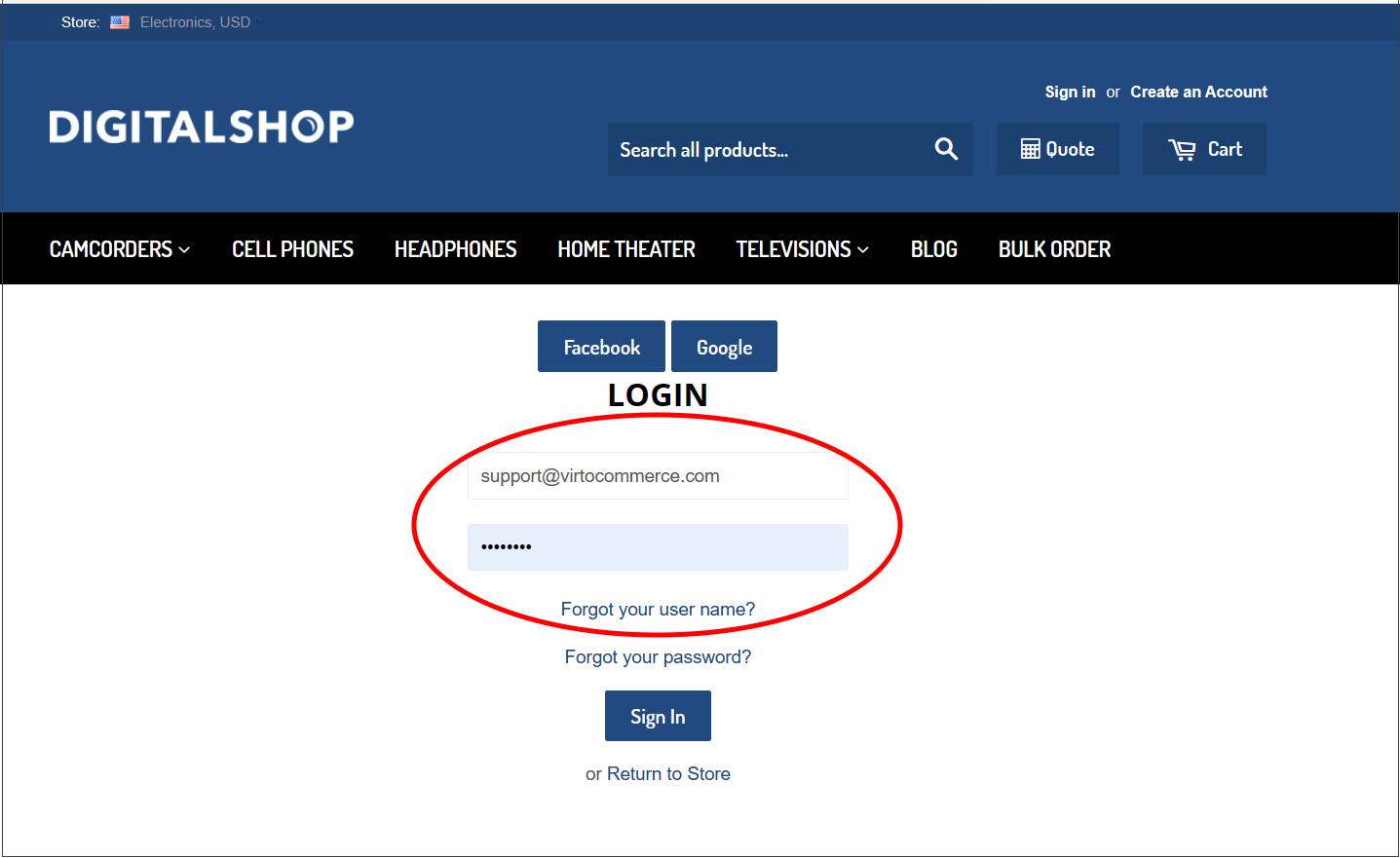 Fig.4. Re-enter login and password.